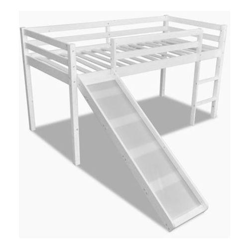 Wysokie łóżko dziecięce ze zjeżdżalnią i drabinką, drewniane