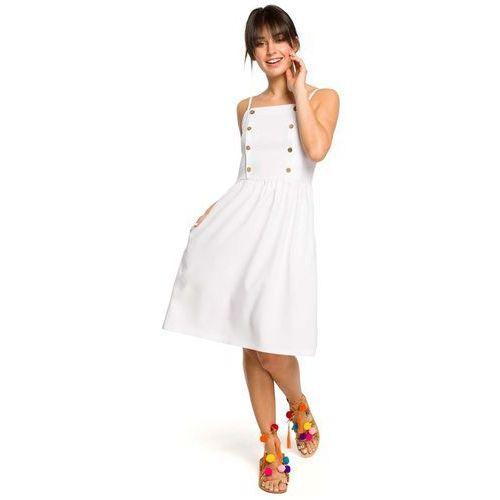 f364da73aa Biała Sukienka na Ramiączkach Ozdobiona Guzikami