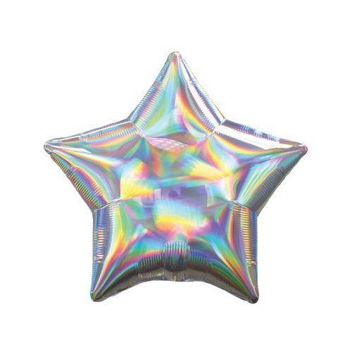 Balon foliowy gwiazdka opalizujący srebrny - 46 cm - 1 szt.