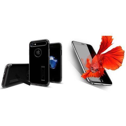 Zestaw   spigen sgp slim armor jet black   obudowa + szkło ochronne perfect glass dla modelu apple iphone 7 marki Sgp - spigen / perfect glass
