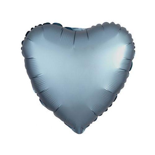 Balon foliowy serce stalowo-niebieskie - 43 cm - 1 szt. marki Amscan