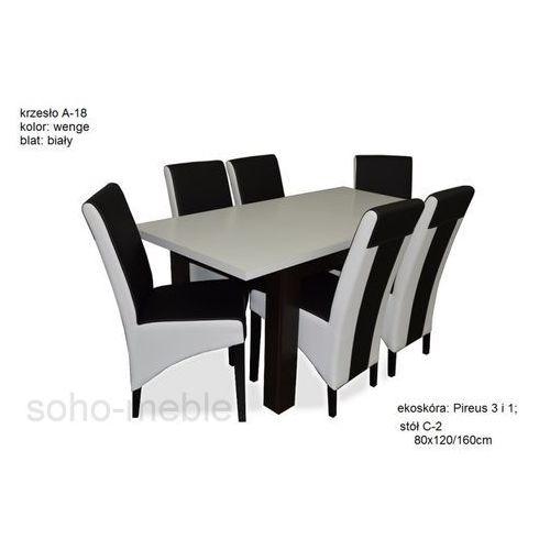 ZESTAW WELES stół 80x120/160cm + 6 krzeseł A-18 NOWE/LAMINAT/EKOSKÓRA ze sklepu soho-meble
