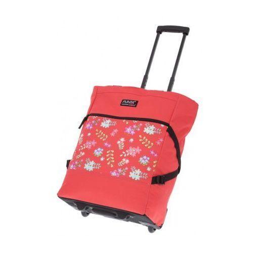 Wózek na zakupy koralowy z kwiatkami, wózek na zakupy PUNTA