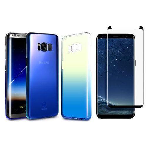 Baseus Etui glaze galaxy s8 ombre aurora blue +szkło mocolo tg+3d - niebieski