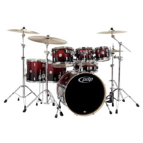 Pdp by dw drum set concept maple, red to black sparkle fade