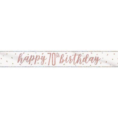 Baner happy birthday różowe złoto na 70 urodziny - 274 cm - 1 szt. marki Unique