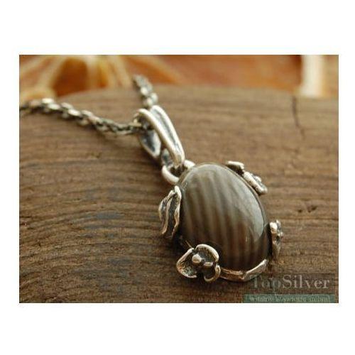 CHIETI - srebrny wisiorek z krzemieniem pasiastym, kolor szary