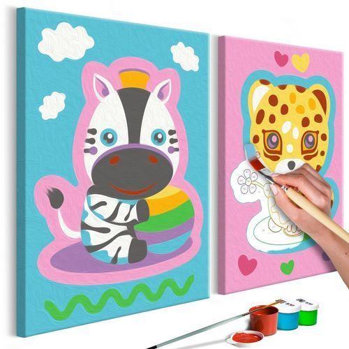 Obraz do samodzielnego malowania - Zebra & Leopard (Pink & Blue)
