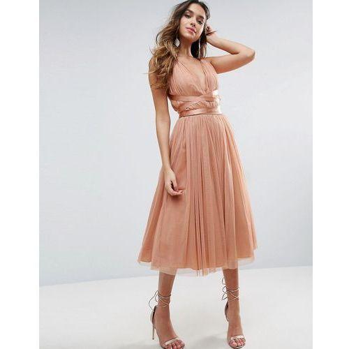 premium tulle midi prom dress with ribbon ties - pink marki Asos