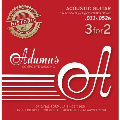 Adamas (664563) Phosphor Bronze Historic Reissue, struny do gitary akustycznej - 3pack Super-Light.011-.052