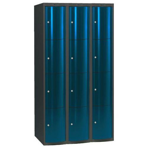 Ekskluzywne szafy osobiste 3x4 schowkim Kolor drzwi: Niebieski metalizowany ze sklepu AJ Produkty