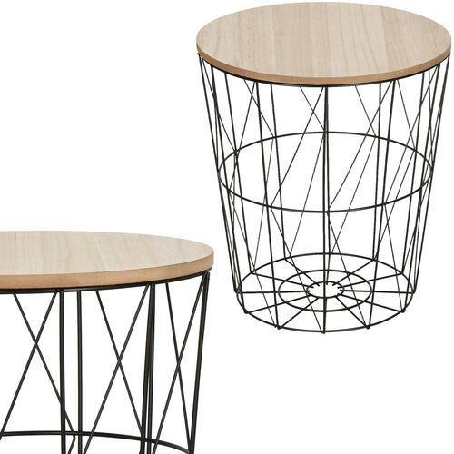 Stolik kawowy loft, kosz metalowy industrialny 35 cm czarny marki Springos