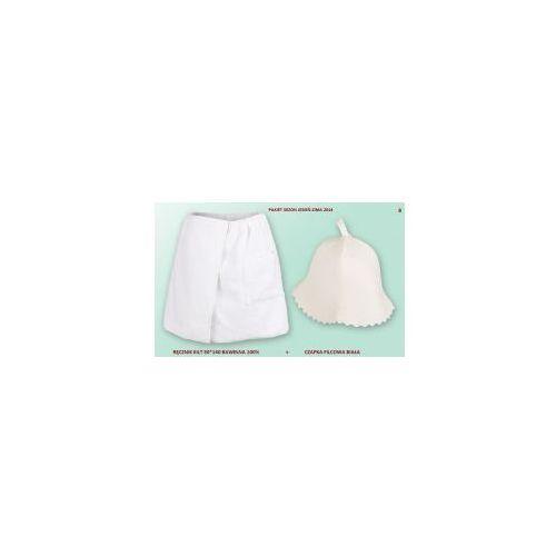 Kilt Ręcznik 50*140cm 100% Bawełna + Czapka biała do sauny B, 2CE9-1973A