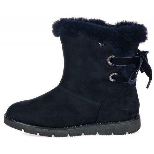 3672f7aaee468 Tom Tailor buty zimowe damskie 36 ciemny niebieski (4058219529948) 232,00  zł Zimowe buty kobiece producenta Tom Tailor z kokardką.