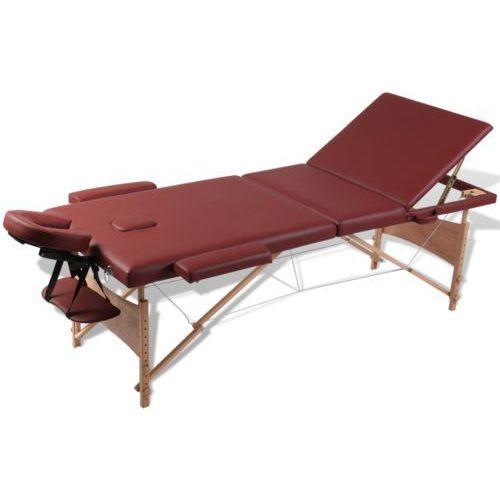 czerwony składany stół do masażu 3 strefy z drewnianą ramą od producenta Vidaxl