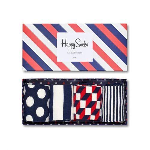 giftbox (4-pary) xbdo09-6000 - kolorowe skarpetki - biały ||granatowy ||czerwony marki Happy socks
