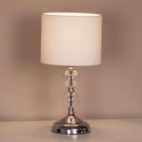 Lampa stołowa Rom Brilliant 94861/05, E27, 1 x 60 W, 230 V, (ØxW) 20 cmx38 cm, chrom, biały, 94861/05