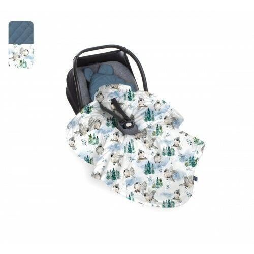 Baby Steps - Kocyk do fotelika - Zimowe ptaszki - granatowe