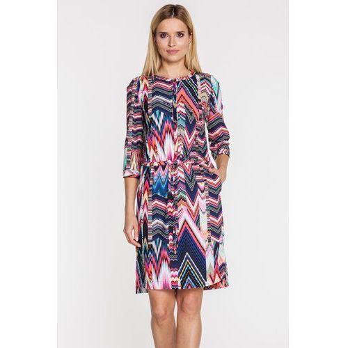 Wzorzysta sukienka z rękawem 3/4 - marki Potis & verso