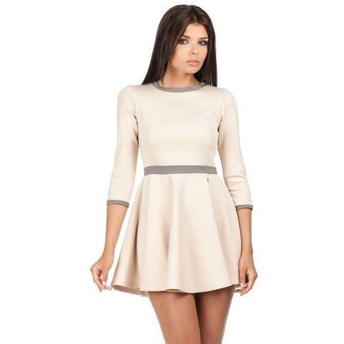 Beżowa Rozkloszowana Sukienka z Wstawkami w Pepitkę, E052cr