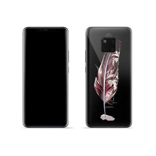 Huawei Mate 20 Pro - etui na telefon Crystal Design - Bordowe pióro, kolor czerwony