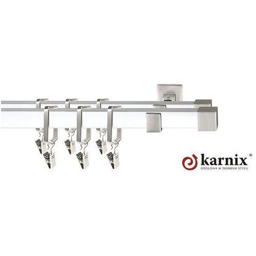 Karnix Karnisz kwadratowy royal podwójny 20x20/20x20mm napoli chrom mat - biały