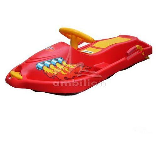 Sanki - Skuter śnieżny z kierownicą i hamulcami Snow Boat czerwony