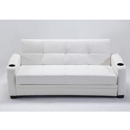 Rozkładana kanapa z materiału skóropodobnego mirella - kolor: biały marki Vente-unique