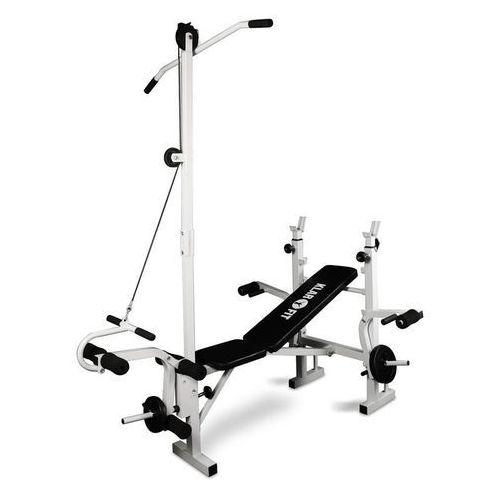 Klarfit ławka pod sztangę z wyciągiem, ćwiczenia na nogi