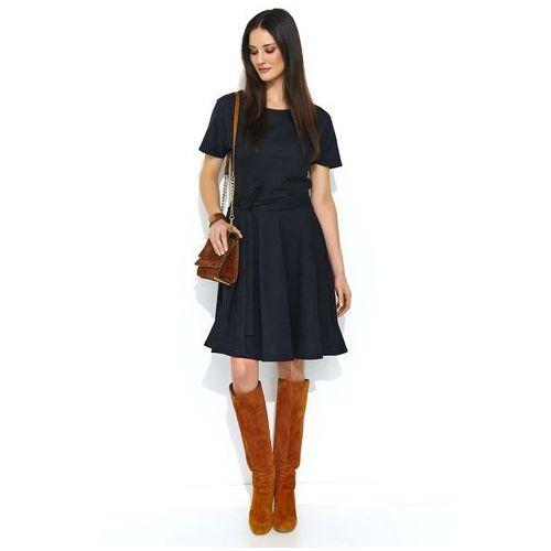 Czarna Rozkloszowana Sukienka z Krótkim Rękawem, rozkloszowana