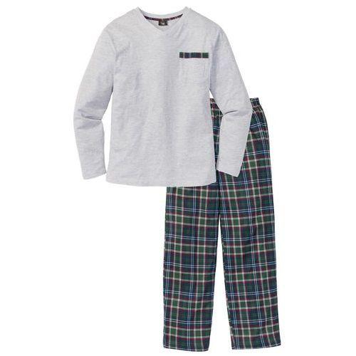 Piżama bonprix jasnoszary melanż w kratę