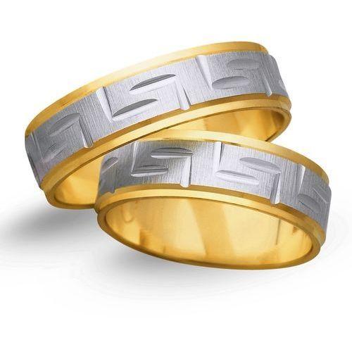Obrączki z żółtego i białego złota 6mm - O2K/143 - produkt dostępny w Świat Złota