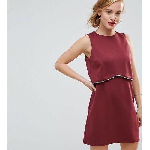 scuba crop top with embellished trim mini dress - red, Asos petite