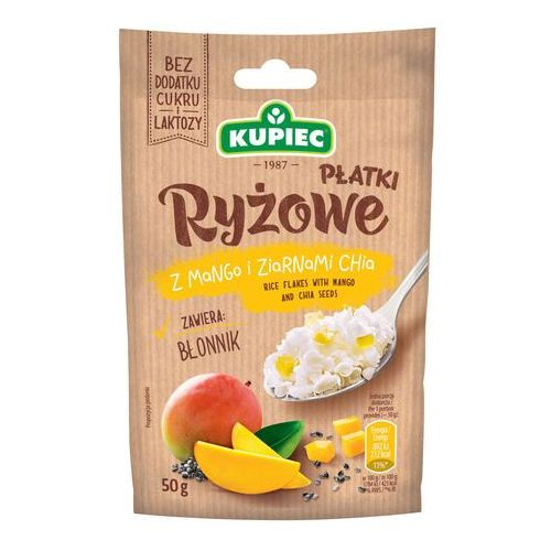 Płatki ryżowe z mango i ziarnami chia (folia) 50g (bez dodatku cukru i laktozy) (5906747174514)