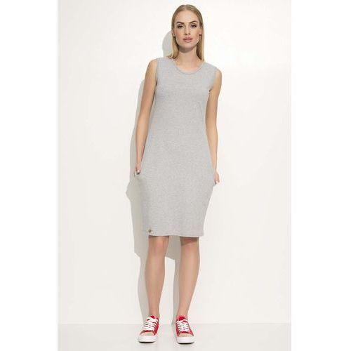 Szara Sukienka Dresowa Midi bez Rękawów z Kieszeniami, 1 rozmiar