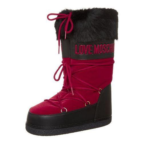 Love Moschino Śniegowce floccato rosso vitello nero