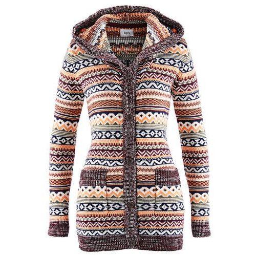 Sweter rozpinany z kapturem bonprix wzorzysty, w 6 rozmiarach