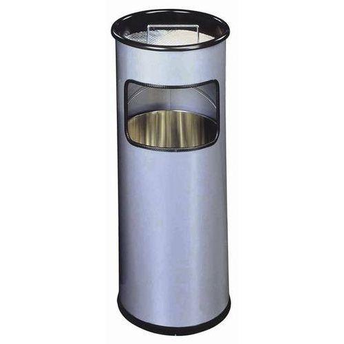 Kosz na śmieci, metalowy, okrągły z popielnicą 17l. srebrny - x09972 marki Durable