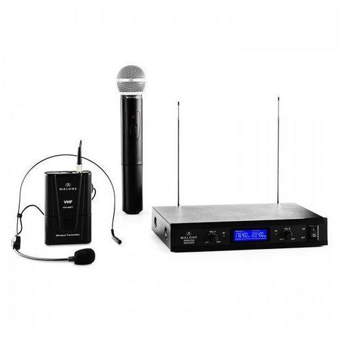 Vhf-400 duo 3 2-kanałowy zestaw mikrofonów bezprzewodowych vhf 1x zestaw nagłowny + 1x mikrofon ręczny marki Malone