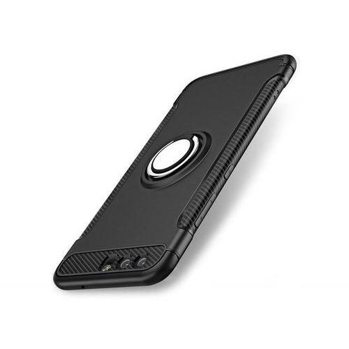 Etui Alogy pancerne Huawei P10 Ring z uchwytem czarne + szkło