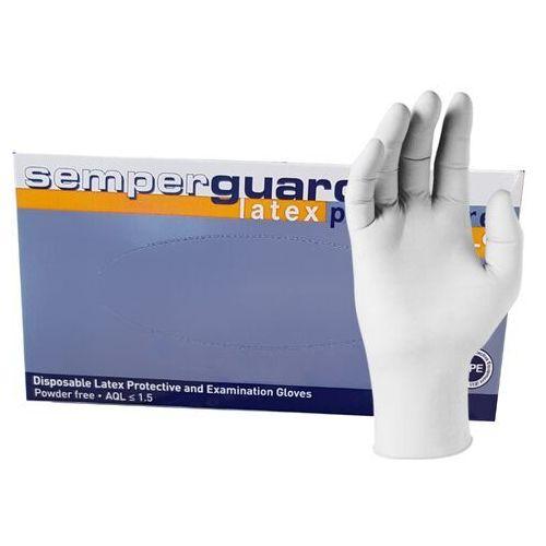 Lateksowe rękawice ochronne semperguard latex bezpudrowe, białe, 100 szt - roz. xs marki Semperit