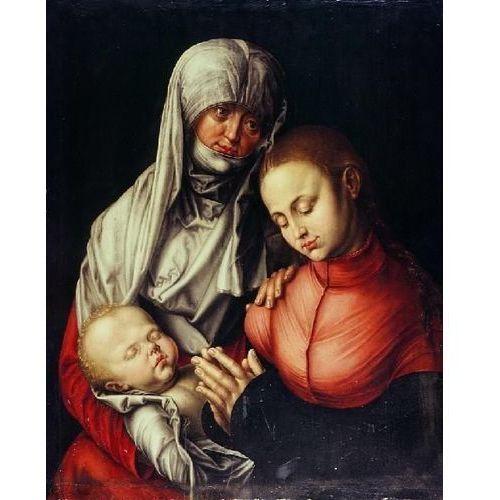 Reprodukcja Święta Anna Samotrzeć (wraz z córką Marią i małym Jezusem) Albrecht Dürer (obraz)
