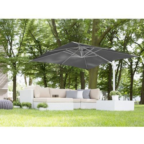 Beliani Parasol ogrodowy 250 x 250 x 235 cm antracytowy/biały monza (4260602371014)