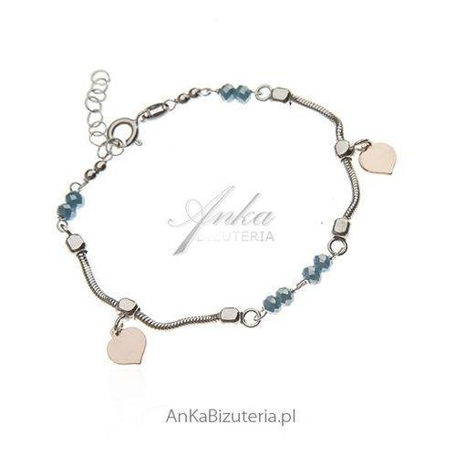 Bransoletka srebrna z niebieskim jadeitem - pozłacana różowym złotem, kolor niebieski