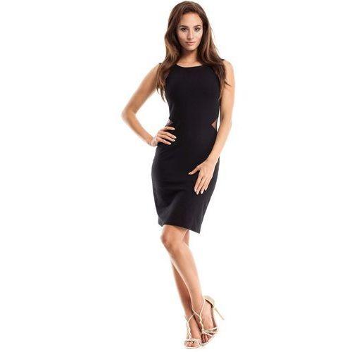 Czarna Sukienka Ołówkowa bez Rękawów z Tiulem, kolor czarny
