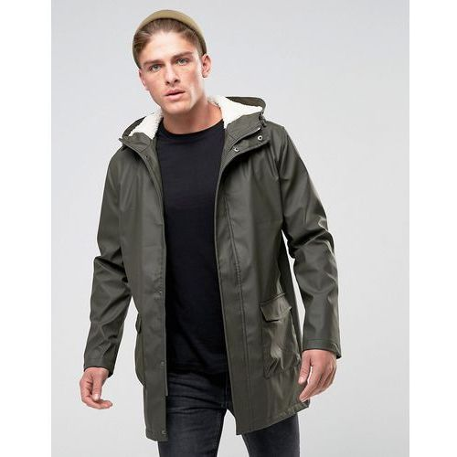 shine fishtail hooded mac with borg lining - green, French connection