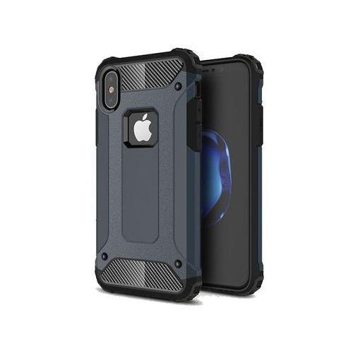 Etui Pancerne Alogy Apple iPhone X Hard Armor Granatowe + Szkło - Granatowy, kolor niebieski