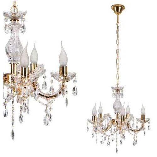 Żyrandol LAMPA wisząca MARIA TERESA 30-94615 Candellux metalowa OPRAWA świecznikowa kryształki złoty, 30-94615