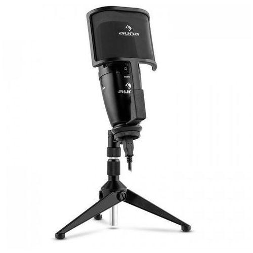 Studio-Pro Mikrofon pojemnościowy USB wielkomembranowy Statyw stołowy Pop-filtr/osłona przed wiatrem