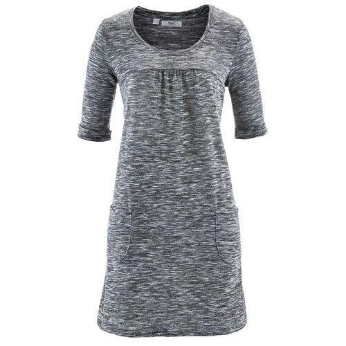 Bonprix Sukienka melanżowa, rękawy 1/2 czarno-biały melanż